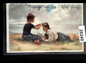 Künstler-Ansichtskarte Hermann Seeger: Strandblumen, Feldpostkarte 1917
