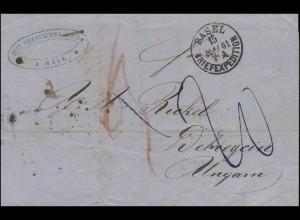 Vorphilatelie Schweiz Einkreis BASEL 15.5.1861 über WIEN nach DEBRECZEN 18.5.