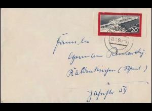 805B Eisenbahnfähre Sassnitz 1960 - geschnitten auf Brief STENDAL 18.1.61