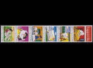 3203-3208 Ein Brief auf Reisen - Zusammendruck mit Leerfeld, Sechserstreifen **