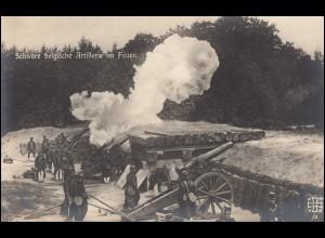 Ansichtskarte I. Weltkrieg: Schwere belgische Artillerie im Feuer, ungebraucht