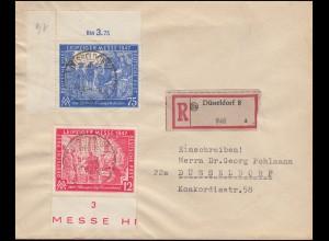 Gemeinschaft 965-966 Leipziger Herbstmesse auf Orts-R-Brief DÜSSELDORF 21.10.47