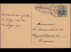 Zensur Belgien Postkarte P 1 Militärische Überwachungsstelle LÜTTICH 3.9.1915
