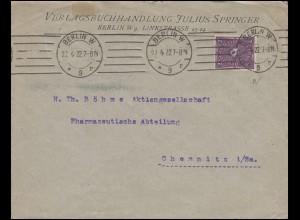 Posthorn 2 Mark zweifarbig EF Brief Verlagsbuchhandlung Springer BERLIN 27.4.22
