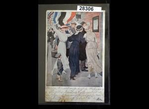 Kriegspostkarte von Brynolf Wennerberg: Siegesdepesche, Feldpostkarte 1915