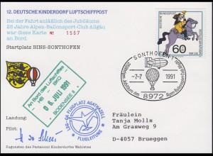 Luftschiffspost DKL 12 BODENSEE Alpen-Ballonsport-Club Allgäu SONTHOFEN 7.7.1991