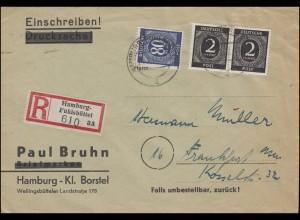 912+935 Ziffern-MiF R-Bf HAMBURG-FUHLSBÜTTEL 20.2.47 nach Frankfurt/Main 23.2.47