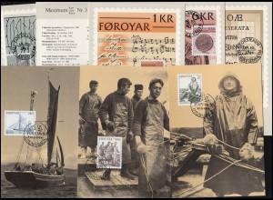 Dänemark-Färöer Maximumkarten-Sammlung Nummer 1-15 der Post (ab 1981) komplett
