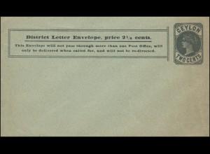 Ceylon Ganzsachenumschlag 2 Cents District Letter Envelope, ungebraucht **