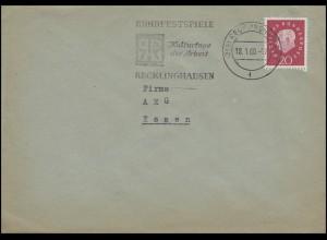 304 Heuss 20 Pf. Bf Ruhrfestspiele Kulturtage der Arbeit Recklinghausen 18.1.60