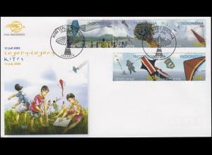 Indonesien Drachenfliegen Kites 5 Werte als Zusammendrucke Schmuck-FDC 15.7.2002
