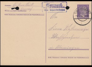 Landpost Gennach über SCHWABMÜNCHEN 6.5.42 auf Postkarte P 299I