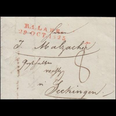 Baden Vorphilatelie Faltbrief Zweizeiler R.1. LAHR 29.10.1825 nach Seckingen
