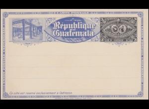 Guatemala Ganzsache Postkarte Aufdruck 3 C. schwarz/blau 1897, ungebraucht **