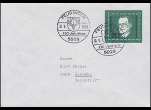 555 De Gasperi aus Bl. 4 als EF auf Brief SSt Freudingen 750 Jahrfeier 31.8.1968
