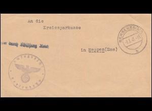 Dienstbrief Frei durch Ablösung Reich Entschuldungsamt BERSENBRÜCK 8.3.1941