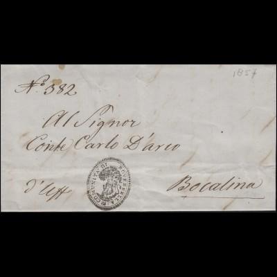 Italien Dienstbrief Gemeindeamt Roverbella 1857 nach Bocalina