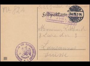 Zensur Kriegsgefangenensendung Gefangenen-Lager MINDEN 13.8.1915 in die Schweiz