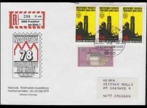 NAPOSTA 1978 Schmuck-Brief gedruckter R-Zettel MiF 963+969 SSt FRANKFURT 23.5.78
