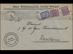 Dienst 70+73 Ziffern 2+50 Mark MiF Brief Versorgungsgericht STUTTGART 28.9.1923