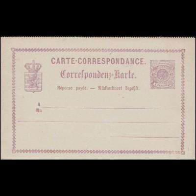 Luxemburg Postkarte P 10 Wappen im Kreis Doppelkarte 5/5 C., ungebraucht **