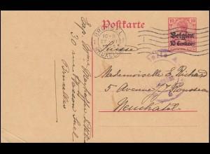 Zensur Belgien Postkarte P 2 von BRÜSSEL 27.6.15 nach Neuchatal / Schweiz