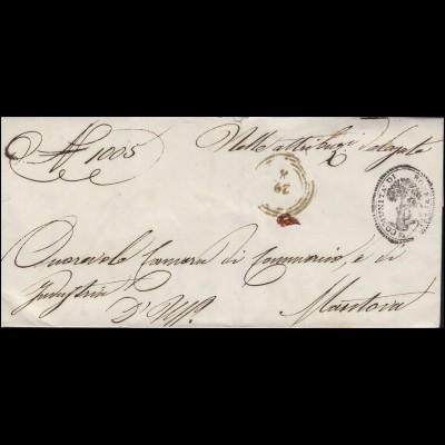 Italien Dienstbrief Gemeindeamt Roverbella mit R4 29.8. nach MANTOVA 29.8.1862