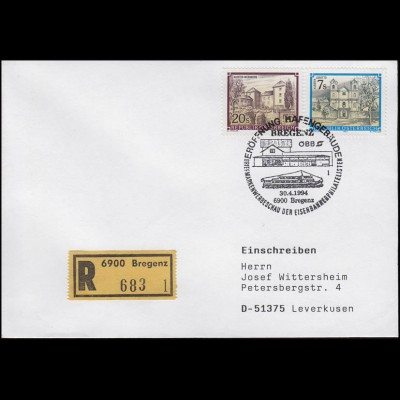 Eröffung Hafengbäude Bregenz & Eisenbahnphilatelie, R-Bf. SSt Bregenz 30.4.1994