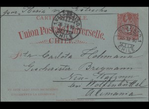 Chile Postkarte P 15 Bildnis 3 C. rot SANTIAGO 25.9.1890 über VALPARAISO 26.9.90