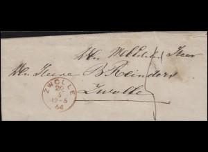 Niederlande Dienstbrief Orts-Brief Einkreis ZWOLLE 29.5.64 Ankunft 29.5.1864