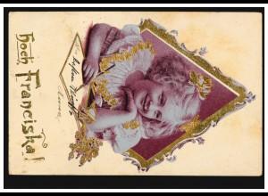 Ansichtskarte Vornamen: Hoch Franciska, Mädchen beim Schreiben, WIEN 1903