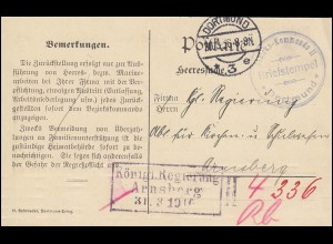 Feldpost Bezirks-Kommando II DORTMUND 30.3.16 an Königl. Regierung in Arnsberg