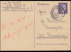 Landpost Stadl über LANDSBERG (LECH) 31.5.1944 auf Postkarte P 299I