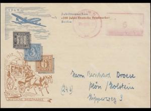 Absenderfreistempel aptiert BERLIN 21.10.49 auf Schmuck-DS Deutsche Briefmarken