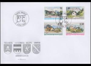 Liechtenstein 1262-1255 Dorfansichten, 4 Werte, Satz auf Schmuck-FDC 5.6.2001
