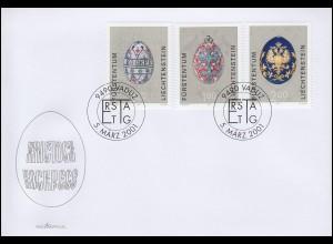 Liechtenstein 1259-1261 Ostereier aus dem Zarenreich, Schmuck-FDC 5.3.2001