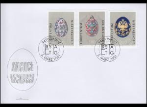 Liechtenstein 1259-1261 Ostereier aus dem Zarenreich auf Schmuck-FDC 5.3.2001