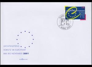 Liechtenstein 1256 ohne Zf. Vorsitz Liechtensteins im Europarat auf FDC 5.3.2001