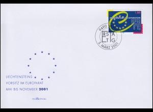 Liechtenstein 1256 ohne Zf. Vorsitz Liechtensteins im Europarat Schmuck-FDC 2001