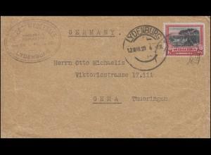 Südafrika Landschaftsmarke 3 D auf Brief LYDENBURG 12.3.1929 nach Gera/Thüringen