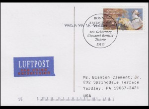 1847 Giovanni Battista Tiepolo, EF FDC-AK ESSt Bonn 7.3.1996 in die USA