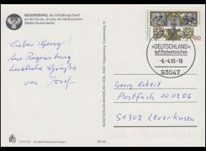 1786 Regensburg [erstmals DEUTSCHLAND auf Briefmarke], EF FDC-AK ESSt Regensburg