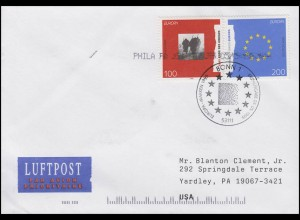 1790-1791 EUROPA Soldaten & Europafahne, Lp-FDC ESSt Bonn 5.5.1995 in die USA