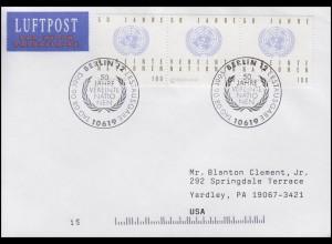 1804 Vereinte Nationen UNO, MeF FDC ESSt Berlin 50 Jahre UNO 8.6.1995 in die USA