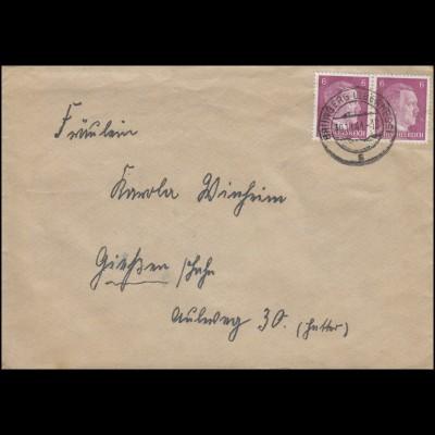 785 Freimarke 6 Pf Paar auf Brief GRÜNBERG / OBERHESSEN 30.10.41