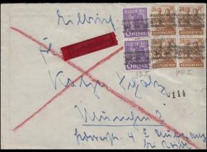 37I Band und 44I Band als MiF auf Eil-Brief SSt 24.8.1948 nach MÜNCHEN 25.8.1948