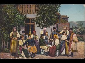 AK Ungarische Trachtengruppe: Gruppenbild aus Huedin / Heynod, Feldpost 16.3.17