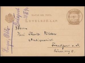 Ungarn Postkarte P 14 Ziffer 2 Kr. BUDAPEST FÖPOSTA 28.6.1894 n. Frankfurt/Main