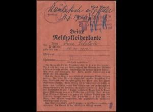 Gemeinde Unterrieden / Witzenhausen 3.Reichskleiderkarte gültig bis 31.12.1942