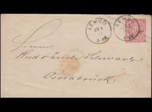 Norddeutscher Bund U 1Aa Ziffer 1 Groschen LEMGO 29.1.1871 nach OSNABRÜCK 30.1.
